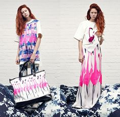Giles 2015 Resort Womens Lookbook Presentation - Giles Deacon 2015 Cruise Pre Spring Fashion Pre Collection - Acid Pansies Flamingo Embroidery Print Graphic Motif Dinosaur Bag Oversized Box Shirt Skirt Frock Sheer Chiffon Outerwear Coat Pink Indigo Abstract Flare Trousers Pants Psychedelic Trippy Florals Bomber Jacket 3d Flowers Embellishments Embroidery Color Block Handkerchief Hem Shirtdress White Lace Dress