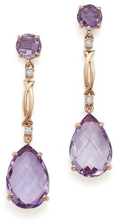 Bloomingdale's Rose Amethyst and Diamond Drop Earrings in Rose Gold - Exclusive Jewelry & Accessories - Bloomingdale's - Women's style: Patterns of sustainability Purple Jewelry, Amethyst Jewelry, Rose Gold Jewelry, Jewelry Accessories, Fine Jewelry, Jewelry Box, Gold Jewellery, Jewelry Making, Jewelry Chest