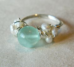 Mermaid's Ring - Fluorite and Freshwater Pearl Silver Wire Wrapped Ring - size 8 ready to ship