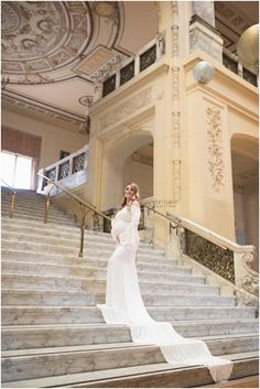 Chicaboo {Juliet} Bell Sleeve Gown With Extended Train- Winter White (Suggested Size: Juliet maternity gown is made from a soft fitted jersey. Double lined in the chest, with bell sleeves with an extended train!