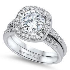 A Perfect 2CT Round Cut Halo Russian Lab Diamond Bridal Set Wedding Band Ring