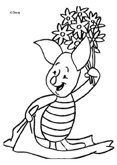 Winnie The Pooh coloring pages - Piglet's bouquet