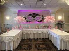 Masquerade theme sweet 16! Feather centerpieces are a must! Villa Barone Hilltop Manor l Call (845) 628-6600 To Book Today! Click the link to learn more --> http://www.villabaronehilltop.com/