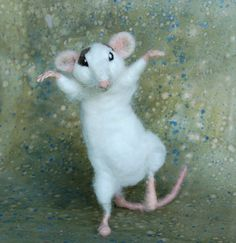 Hiro thought he ought to know how to defend himself against the rats many enemies. Interesting that the only kungfu instructor he could find was a cat. Lets just say he learned fast.    Hiro is a life sized needle felted rat; he is about 8 nose to bottom. He has pink hands, feet, tail, and ears and white horsehair whiskers. His fingers can be positioned and his mouth opens and closes. He is white with a subtle gray ying and yang marking on his back and spots on his face.    Thank you to…