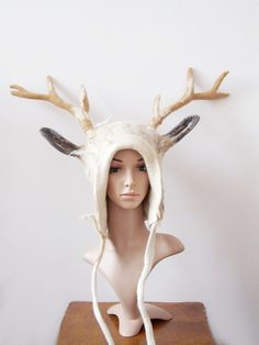 Fantasy White Stag Hat  Horned Headdress for a by FeltYourself