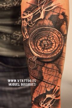Map tattoo compass smoke