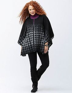 LANE BRYANT Ombre Houndstooth Cape Women's Plus 22/24  26/28 Black Gray Jacket…