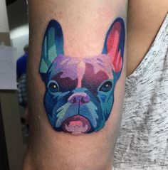 French Bulldog Tattoo Colourful tattoo