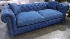 OXFORD SOFA 100% BLUE DENIM COTTON down cushions / 8 way hand tied / nice #NAMEBRAND