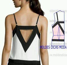 detalhes de modelagem de costas Easy Sewing Patterns, Clothing Patterns, Dress Patterns, Diy Fashion, Ideias Fashion, Womens Fashion, Fashion Tips, Embroidery Fashion, Dressmaking