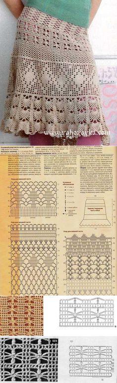 Falda crochet con diagrama.