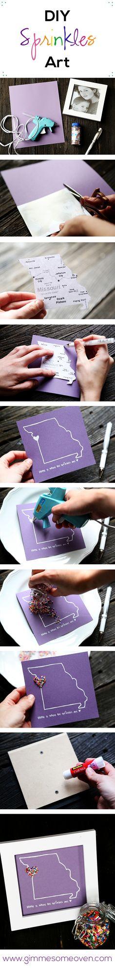 DIY Sprinkles Art (Great going away/moving gift!)