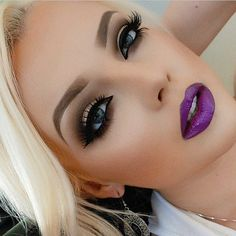 Glam with purple lips