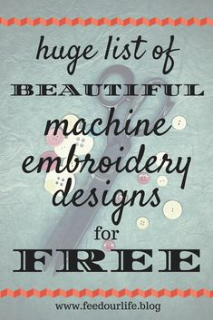 Embroidery Projects List of FREE embroidery designs - List of Free Embroidery Designs – A compilation of 12 Designers with hundreds-of-thousands of FREE embroidery design patterns. I have way too many machine embroidery designs saved on my lapto… Brother Embroidery Machine, Machine Embroidery Projects, Machine Embroidery Applique, Free Machine Embroidery Designs, Hand Embroidery, Embroidery Stitches, Applique Embroidery Designs, Embroidery Digitizing, Freehand Machine Embroidery