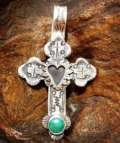 Lawrence Baca Cross with Turquoise and Sacred Heart Pendant