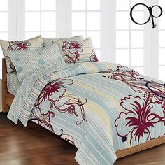 OP Hibiscus Lounge Bed In A Bag Bedding Set