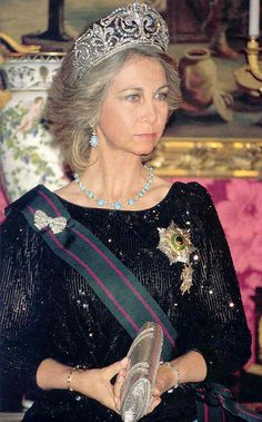 Queen Sofia of Spain wearing the tiara of VICTORIA EUGENIA of Italy