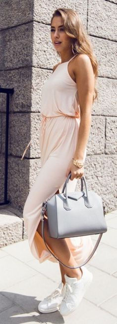 #spring #summer #street #style #outfitideas | Apricot Maxi Dress + White Sneakers | Kenzas