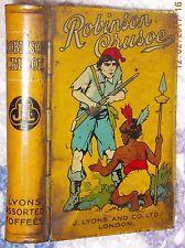ROBINSON CRUSOE LYONS TOFFEE BOOK TIN 1920'S RARE