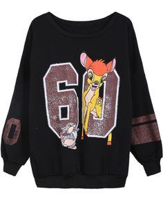 Black Long Sleeve Deer 60 Print Sweatshirt GBP£14.36