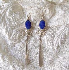 Vintage Lapis Lazuli Sterling Silver Dangle by CynthiasAttic
