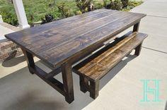Classic Farmhouse Table 8FT – Dark Walnut - Handy Makers