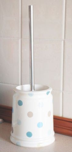 new shabby country chic blue spotted ceramic toilet brush holder