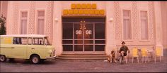 The post-WWII entrance of the Grand Budapest Hotel