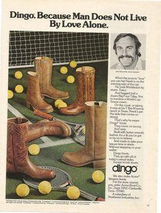 9f52ab3ed4b3 1975 Advertisement John Newcombe Dingo Boots Tennis Champion Net Balls  Cowboy Boots Footwear Style