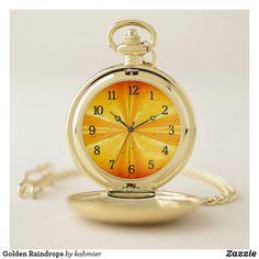 Golden Raindrops Pocket Watch