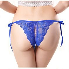 3873d45899 MISMXC Women s Sexy Panties Briefs Lace Knickers Lingerie Thong Panty  (Black)