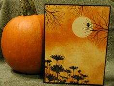 Stampin' Up! ... handmade Autumn/Halloween card ... sponged background scene with masked moon ... orange and yellow with black ink and mats ... like it!