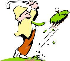 Golf Vector Clipart of a Cartoon golfer