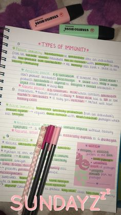 My biology notes Staedtler fine liners - ASDA. Highlighters - ASDA. Pen - The Works. Notebook -Paperchase
