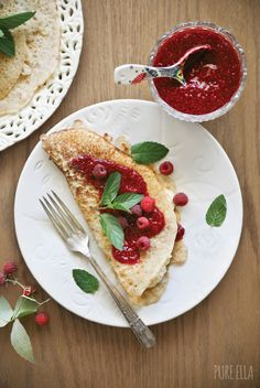 Gluten-free and vegan French Crêpes with dairy-free vanilla cream cheese and raspberry chia jam