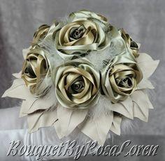 Olive Green Bouquet, Silvery Green Bridal Bouquet, Golden Green Wedding Bouquet