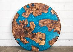 "Olive Wood and Resin ""Earth"" Art 25 inch diameter"