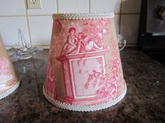 "Made with Pierre Deux's ""Versailles"" French Country Toile fabric. Scenes may vary on each individual lamp shade! I have 47 years experience in designing quality products. These are Clip On type chandelier lamp shades available in 3 different sizes with clip on shown. 