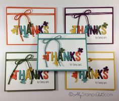 NEW Stampin' Up! Sale-A-Bration Products!!! For Being You Stamp Set and the In Color Accessory Pack used on these cards.