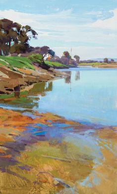 Marcia Burtt, Low Tide, Spring, Goleta Beach, acrylic, 30 x 18.
