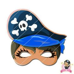Childrens Printable Girl Pirate Mask - Blue | Simply Party Supplies Printable Masks, Printables, Girl Pirates, Mask Girl, Half Mask, Printer Paper, Hole Punch, Print And Cut, Fancy Dress