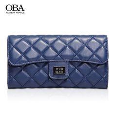 Oba winter new arrival women's wallet trend 2014 women's handbag long design plaid sheepskin day clutch