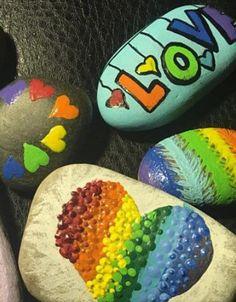 Pride, Love and Hearts Pebble Art, Rainbow Painted rocks, Love Is Love, Rainbow . Pebble Painting, Pebble Art, Stone Painting, Rock Painting, Love Rainbow, Rainbow Art, Rainbow Rocks, Pride Rock, Unique Bridal Shower