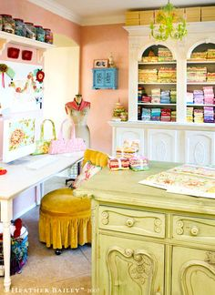 In love with Heather Bailey's Sewing Room... do you think it realllly looks this cute all the time? dreaming...