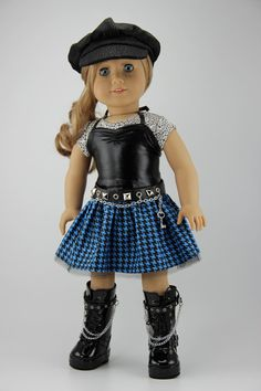 "American Girl doll clothes - 4 piece punk style skirt outfit (fits 18"" doll) (420blu)"
