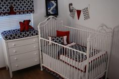 Navy Geometric fabric, white and red nursery, fish fabric framed wall art and pennant banner with grey chevron