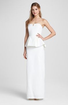 Sleek Chic.  Nicole Miller Strapless Peplum Gown available at Nordstromweddings.com