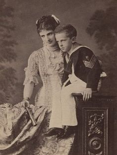Margherita of Savoy with son, circa 1877
