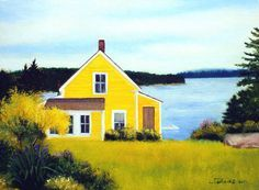 Maine Summer Island Home Flower Garden with Ocean View by MaineArt, $475.00