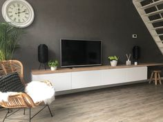 I cooked up a perfect wall mounted TV cabinet - IKEA Hackers Ikea Tv Console, Tv Cabinet Ikea, Ikea Wall Cabinets, Tv Cabinets, Wall Mount Tv Cabinet, Tv Wall Mount, Tv On Wall, Ikea Tv Wall Unit, Wall Mounted Tv Unit